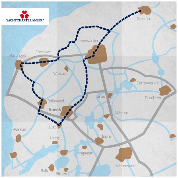 Yachtcharter Sneek Elfstedentocht route